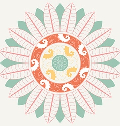 Tropical Mandala in pastel colors vector