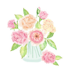 Watercolor hand drawn pink english rose bouquet vector