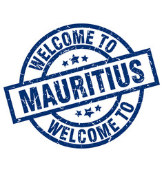 Welcome to mauritius blue stamp vector
