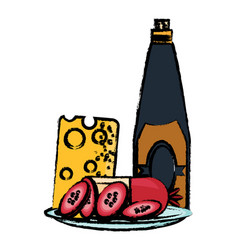 Wine bottle and cheese board vector