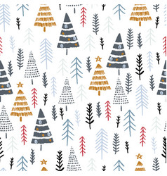Winter seamless pattern with christmas trees vector