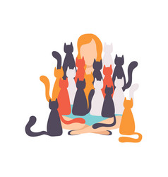 woman sitting on the floor surrounded by many cats vector image