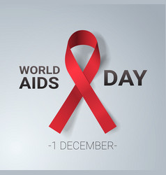 world aids day awareness red ribbon sign 1 vector image