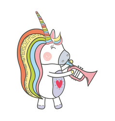 beautiful unicorn play trumpet instrument vector image vector image
