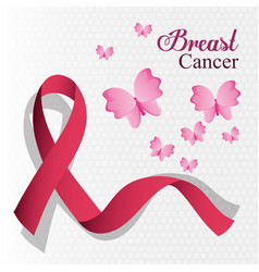 breast cancer ribbon and butterfly card vector image