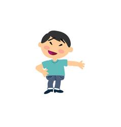 Cartoon character asian boy showing vector