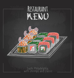 Chalk drawing sushi menu design vector