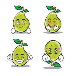 collection pear character cartoon set vector image vector image