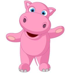 cute baby hippo cartoon standing vector image vector image