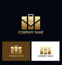 gold suitcase business logo vector image vector image