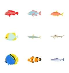 Ocean fish icons set cartoon style vector image