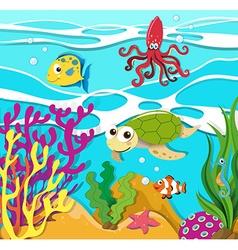 Sea animals swimming in the ocean vector image vector image