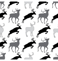 Seamless pattern with deer gray and black and wite vector image vector image