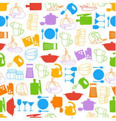 seamless pattern with kitchenware and vector image vector image