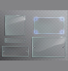 set of transparent glass plates panels vector image