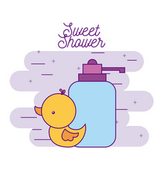 Sweet shower rubber duck and bottle soap vector