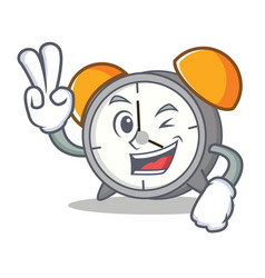 two finger alarm clock character cartoon vector image