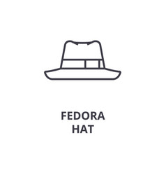 fedora hat line icon outline sign linear symbol vector image