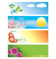 horizontal banners with flowers vector image