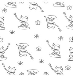 pattern with frog hand draw vector image