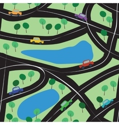 Seamless background with toy cars roads and trees vector image