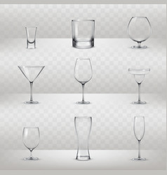 set of glasses for alcohol and other drinks vector image