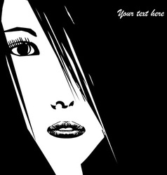 Stylized young woman face with place for your text vector image vector image