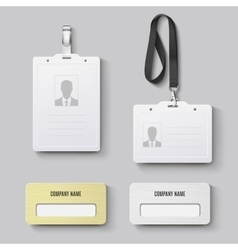 White blank plastic with clasp lanyards id badge vector image vector image