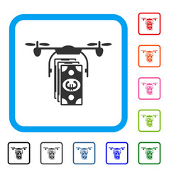 euro banknotes drone framed icon vector image