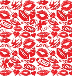 kiss and lips love concept pattern vector image vector image