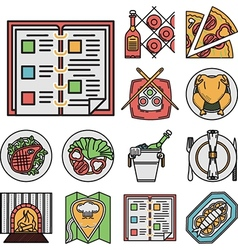 Restaurant flat color icons vector image