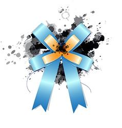 blue ribbon bow on ink splash vector image vector image