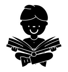 boy reading book open book sitting icon vector image vector image