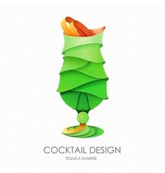 3D cocktail mojito design vector