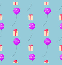 8 march seamless pattern with gift box vector image