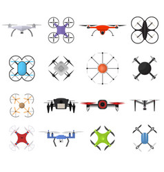 air drone color quadrocopter set vector image