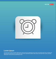 alaram clock icon - blue sticker button vector image