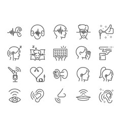 Asmr line icon set vector