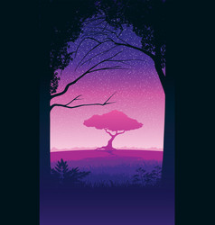 background landscape with forest and lonely vector image