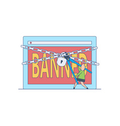Banned website concept with flat cartoon female vector