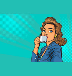beautiful business woman having coffee in the vector image