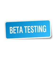 Beta testing blue square sticker isolated on white vector