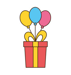 birthday gift balloons vector image