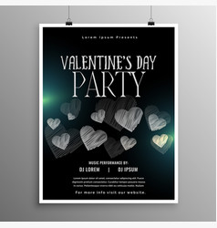 black valentines day flyer template with hearts vector image