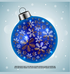 Blue christmas ball with golden snowflakes vector
