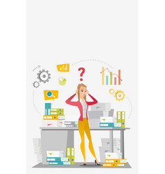 Business woman overloaded with paperwork vector