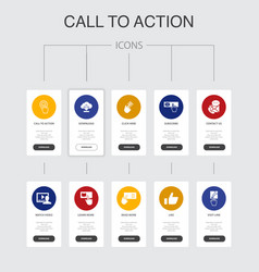 Call to action infographic 10 steps ui design vector