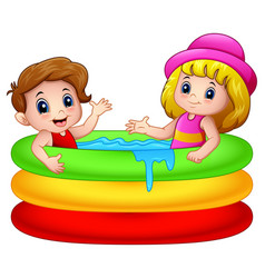 Cartoon boy and girl playing in an inflatable pool vector
