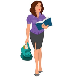 Cartoon young woman reading book and holding bag vector image