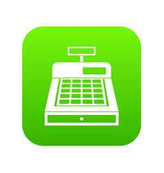cash register icon digital green vector image